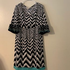 Beige by ECI teal and navy size XL stretchy dress